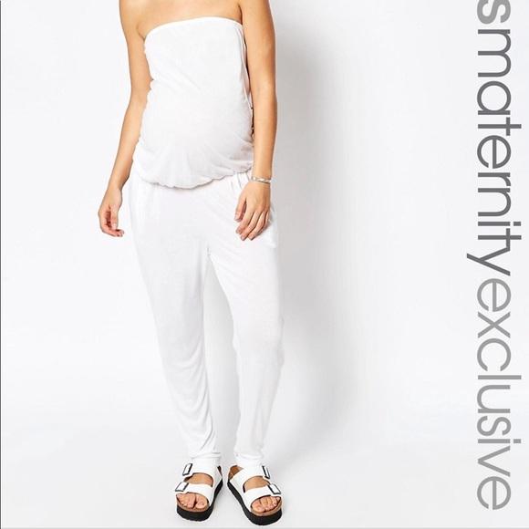 dfd52fe7ee5fc ASOS Maternity Pants - ASOS maternity bandeau romper jumpsuit, White NWT